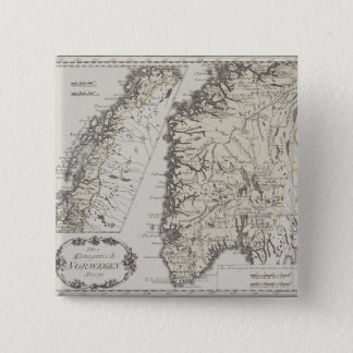 Antique Map of Norway Pinback Button