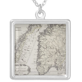 Antique Map of Norway Square Pendant Necklace