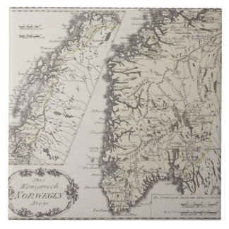Antique Map of Norway Large Square Tile
