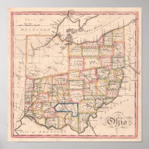 Antique Map of Ohio Posters