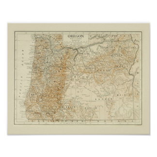 Antique map of Oregon Poster