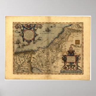 Antique Map of Palestine ORTELIUS ATLAS 1570 A.D. Poster