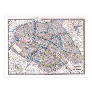 Antique Map of Paris Postcard