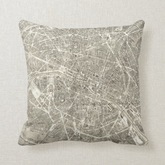 Antique Map of Paris | Vintage Decor Throw Pillow