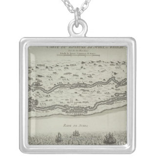Antique Map of Persian Gulf Square Pendant Necklace