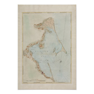 Antique Map of Plymouth Bay, Massachusetts Poster