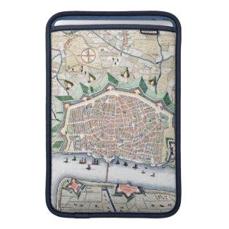 Antique Map of Port of Antwerp, Belgium with Ships MacBook Sleeves