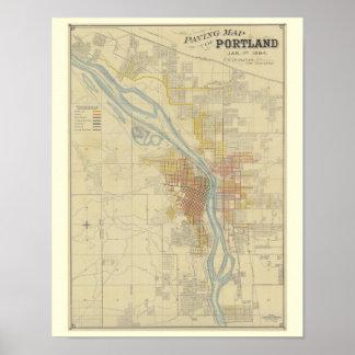 Antique Map of Portland, Oregon Poster