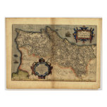Antique Map of Portugal ORTELIUS ATLAS 1570 A.D. Posters