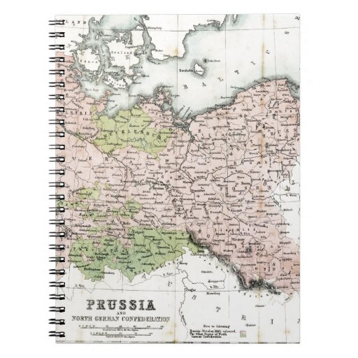 Antique Map of Prussia Spiral Notebooks