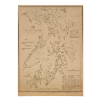 Antique map of Puget Sound Poster