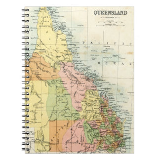 Antique map of Queensland Australia Spiral Note Book
