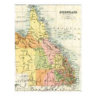 Antique map of Queensland Australia Postcard