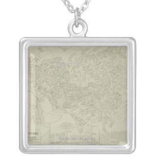 Antique Map of River Systems Square Pendant Necklace