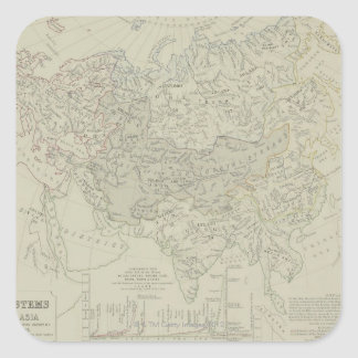 Antique Map of River Systems Square Sticker