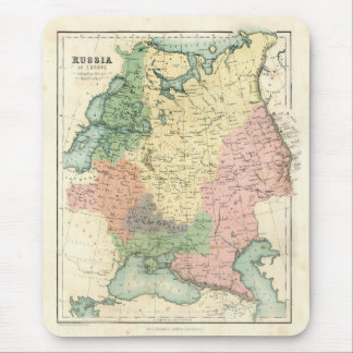 Antique map of Russia in Europe Mouse Pad