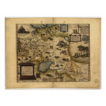 Antique Map of Russia ORTELIUS ATLAS 1570 A.D. Posters