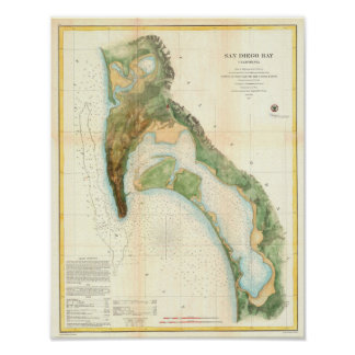 Antique map of San Diego Bay California Poster