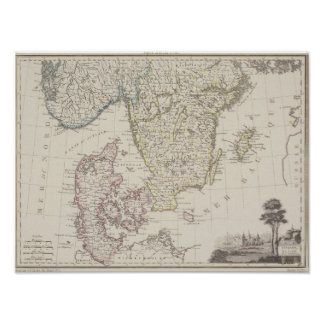 Antique Map of Scandinavia 2 Poster