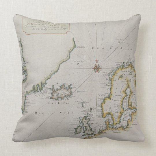 Antique Map of Scandinavia 2 Throw Pillow