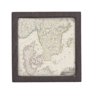 Antique Map of Scandinavia Jewelry Box
