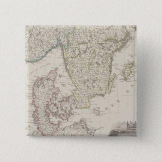 Antique Map of Scandinavia Pinback Button