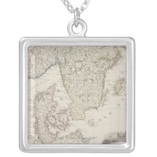 Antique Map of Scandinavia Square Pendant Necklace