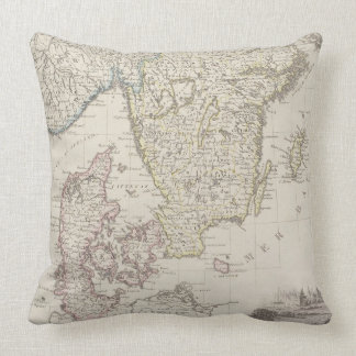 Antique Map of Scandinavia Throw Pillow