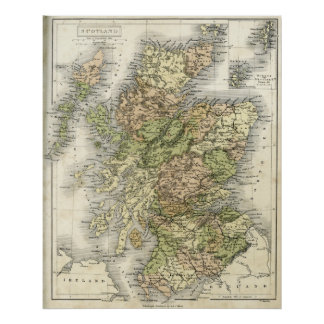 Antique map of Scotland Posters