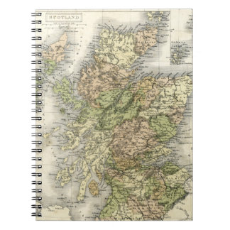 Antique map of Scotland Spiral Note Books