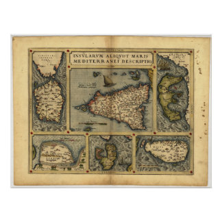Antique Map of Sicily ORTELIUS ATLAS 1570 A.D. Poster