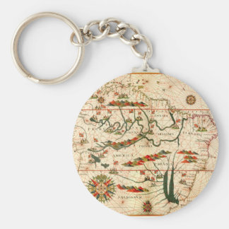Antique Map of South America Key Chain