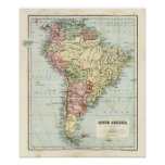 Antique map of South America Poster