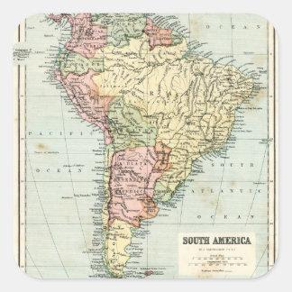Antique map of South America Square Sticker