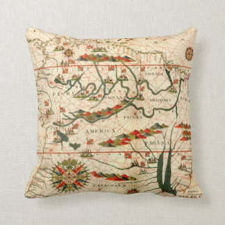 Antique Map of South America Throw Pillow