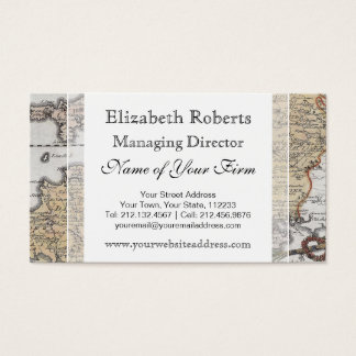 Antique Map of Southern England, Devon, Cornwall Business Card