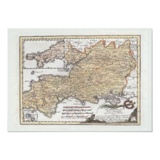 Antique Map of Southern England, Devon, Cornwall 5x7 Paper Invitation Card