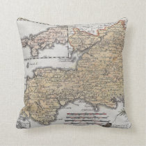 Antique Map of Southern England, Devon, Cornwall Throw Pillow