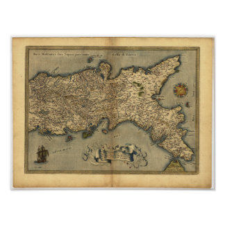 Antique Map of Southern Italy ORTELIUS ATLAS 1570 Poster