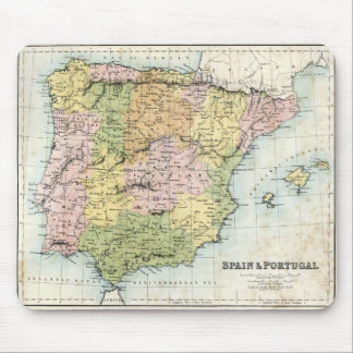 Antique map of Spain and Portugal Mouse Pad