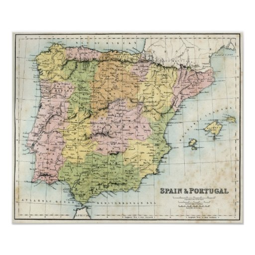 Antique map of Spain and Portugal Poster
