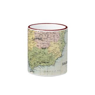 Antique map of Spain and Portugal Ringer Mug