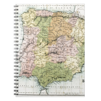 Antique map of Spain and Portugal Spiral Note Book