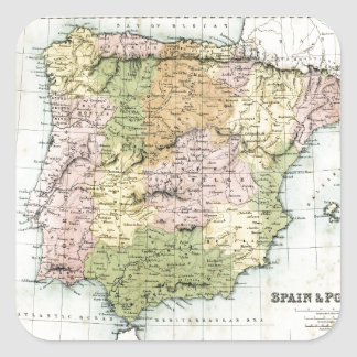 Antique map of Spain and Portugal Square Sticker