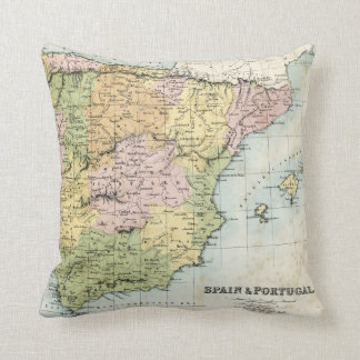 Antique map of Spain and Portugal Throw Pillow