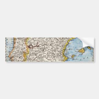 Antique Map of Spain & Portugal circa 1700's Bumper Sticker