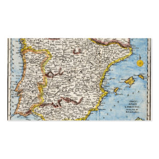 Antique Map of Spain & Portugal circa 1700s Business Cards