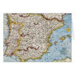 Antique Map of Spain & Portugal circa 1700's Cards