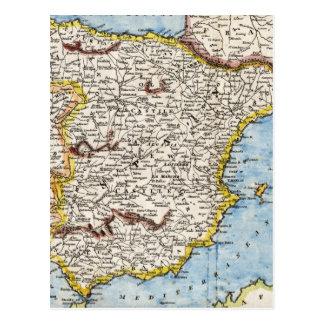 Antique Map of Spain & Portugal circa 1700's Postcard