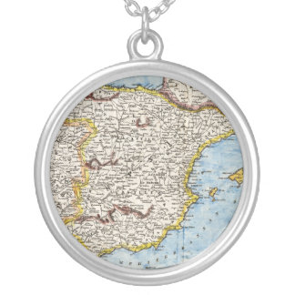 Antique Map of Spain & Portugal circa 1700s Round Pendant Necklace